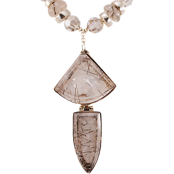 OOAK Davison Versatile Bold Tourmalated Quartz and Sterling Silver Necklace