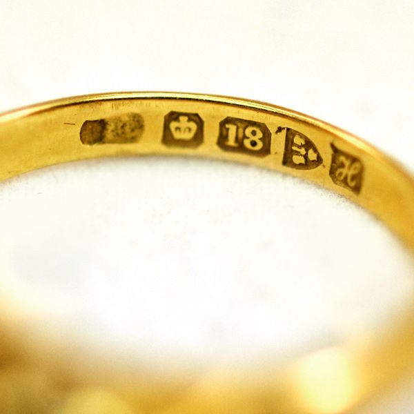 Extraordinary ca 1908 18K Gold Chester Hallmark Five Diamond Ring