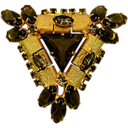 Stand-Out Big Bold Geometric Triangular Vintage Rhinestone Brooch