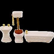 Vintage Cast Porcelain Dollhouse Tub Toilet Sink Set