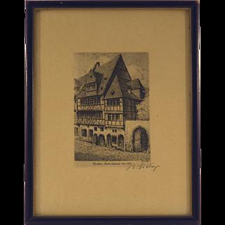 Bernhard Liebig's Birthplace of Goethe Etching