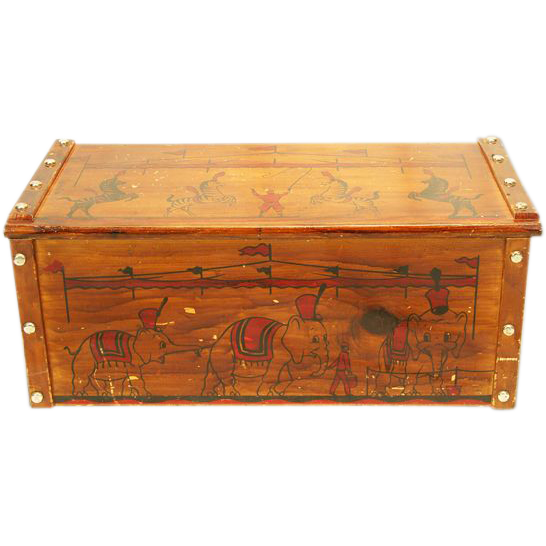 fun ca 1950s wooden toy box chest with circus decoration easterbelle 39 s emporium ruby lane. Black Bedroom Furniture Sets. Home Design Ideas