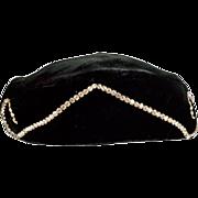 Sexy Black Velvet Hat with Rhinestones