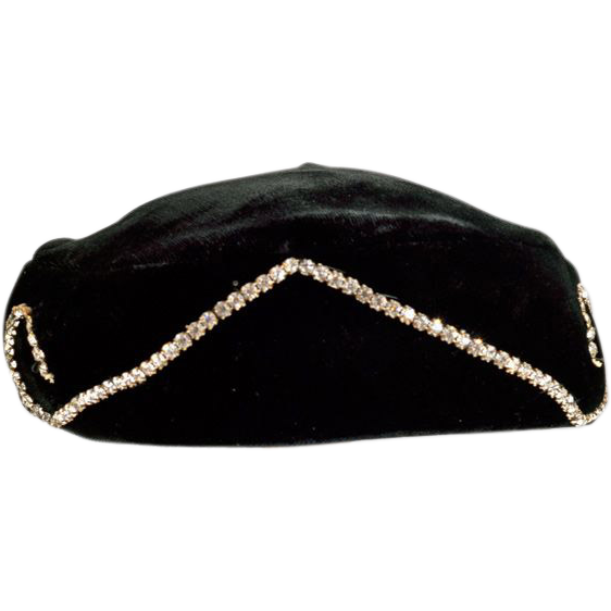 Sexy Black Velvet Hat with Rhinestones