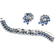 ca 1950s Eisenberg Brillaint Blue Rhinestone Demi-Parure with Original Boxes