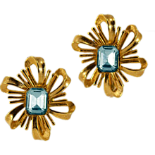 Swanky Blue Rhinestone Crown Trifari Earrings