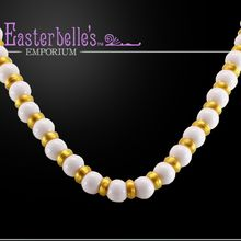 Bright White and Shimmery Gold-Tone Vintage Kramer Necklace