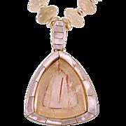 Dreamy OOAK Davison Moonstone Necklace Rutilated Quartz and Inlaid MOP Pendant