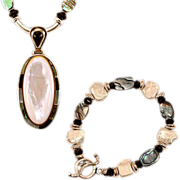 Beautiful OOAK Davison Abalone, MOP, Sterling Necklace and Bracelet Set