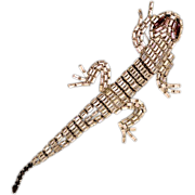 Vintage Weiss Co. Articulated Baguette Rhinestone Gecko Brooch