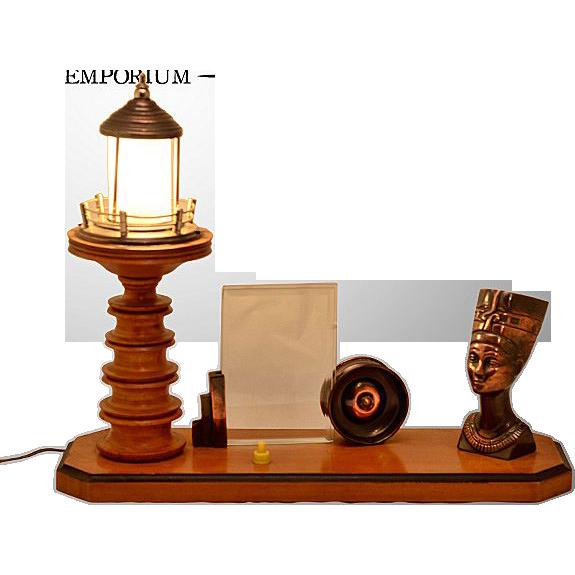 Vintage Custom Made Combination Desk Lamp & Frame