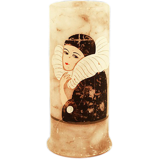 ca 1920s French Lovely Alabaster Vase with Pierrette
