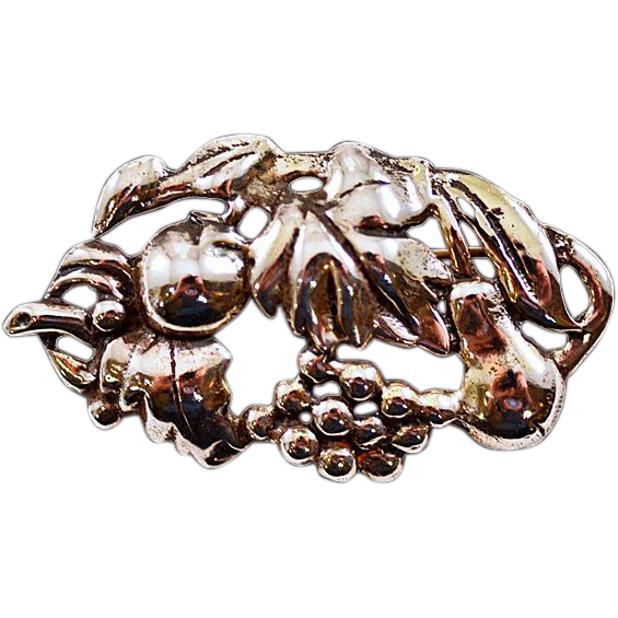 Vintage Sterling Silver .925 Fruit Brooch Great Size