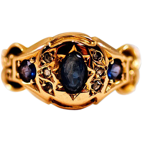 ca 1908 18K Gold Diamond Sapphire Ring Sovereign Crown Hallmark
