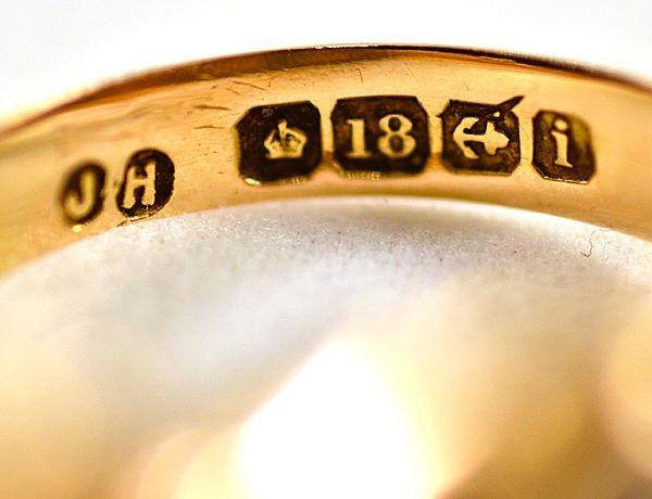 ca 1908 18K Gold Diamond Sapphire Ring Sovereign Crown Hallmark