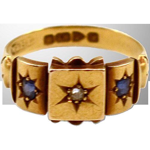 18K Gold Chester Hallmarked ca 1902  Diamond & Sapphire Ring