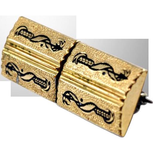 Lovely 12K Gold-Fill and Enamel Vintage Brooch