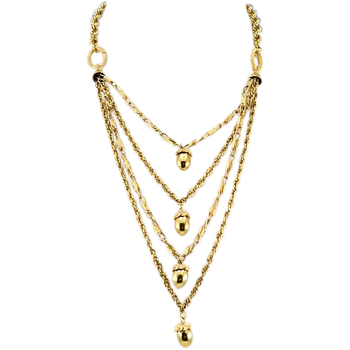 Vintage Layered Germany Acorn Pendant Gold-Colored Snake Chain Necklace
