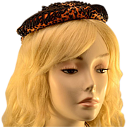 Vintage Lilly Daché I. Magnin Tobacco, Black Coil & Faceted Bead Hat