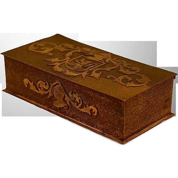 Silver Crest Art and Crafts Era Hallmarked Bronze & Wood Lined Cigar Box