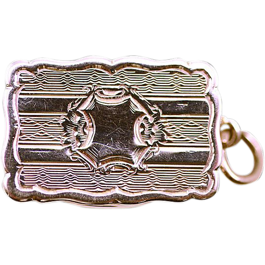 ca 1864 George Unite Sterling Silver Vinaigrette Scent Box with Original Screen