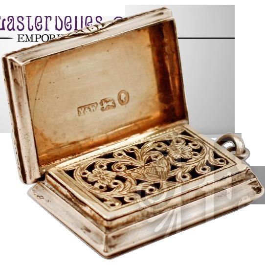 ca 1845 Sterling Silver Yapp & Woodward Vinaigrette Rare Queen Victoria Duty Mark