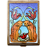 Beautiful Art Deco Unusual and Very Unique Enamel Lotus and Lion Cigarette Case