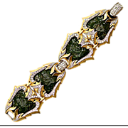 Oh, My, My, Outstanding Boucher Four Panel Enamel, Rhinestone & Gold-Tone Metal Bracelet