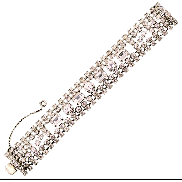 Vintage Weiss Five Row Rhinestone Bracelet