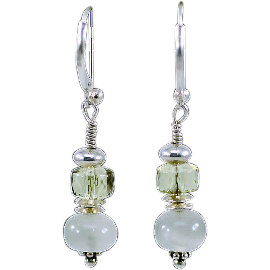 OOAK  Davison Sterling Silver, White Moonstone & Lemon Quartz Earrings