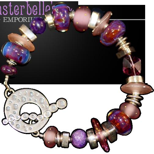 OOAK Davison Sweet Mauves, Pinks and Lavenders Lampwork Sterling Silver, Sugilite Bead Bracelet