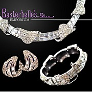 Elegant Vintage Boucher Brilliant Rhinestone Necklace, Bracelet, Earrings Parure Set