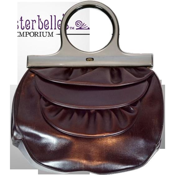 Vintage Very Rare Schiaparelli Burgundy Handbag with Matching Coin Purse