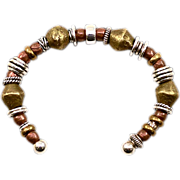 Unusual OOAK Davison Sterling Silver and African Trade Bead Bracelet