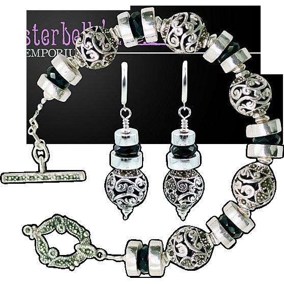 OOAK Davison Marcasite Bracelet Earring Sterling Silver Set