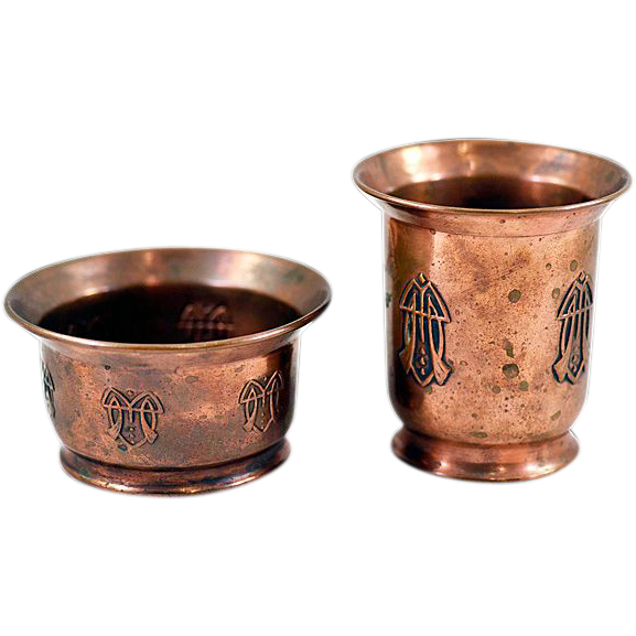 Vintage Arts & Crafts Movement Copper  Small Containers Set