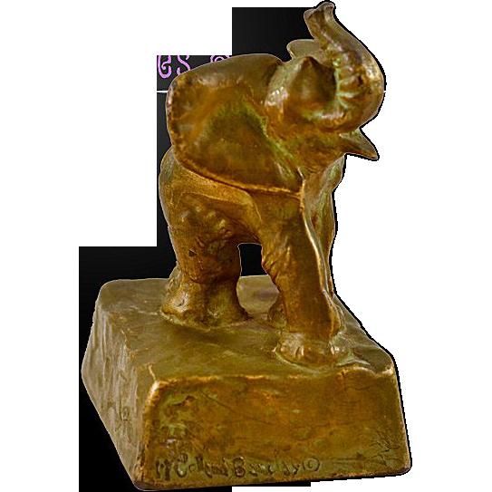 Delightful McClellan Barclay Bronze Gilt Elephant Sculpture