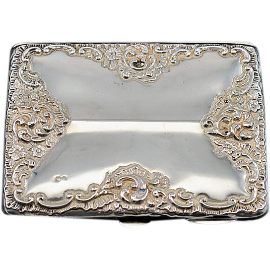 Ca 1896 Chester Hallmarked Very Large Sterling Repousse Calling Card From Easterbelles Emporium