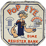 1929 Tin Lithographed Popeye Dime Register Bank