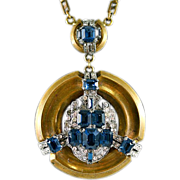 Stunning Rare McClelland Barclay Brass, Blue & Clear Rhinestones Necklace