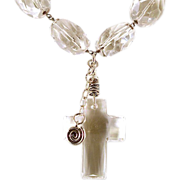 OOAK Artisan Davison Sterling & Faceted Quartz & Swarovski Crystal Cross Necklace