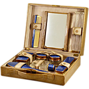 Deco Era Guilloche Enameled Toiletry 8 Piece Travel Set in Original Case