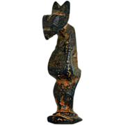 Ancient ca 1,000 to 1,400 A.D. Seljuq Empire Bronze Cat Figurine - Book Piece