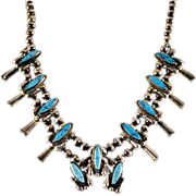 ca '60s Navajo Squash Blossom Turquoise and Silver Necklace