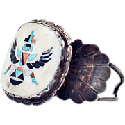 Rare ca 1920s Zuni Inlay Cuff Bracelet with Gemstones in Sterling Silver