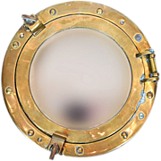 Vintage Ship Porthole Brass Mirror