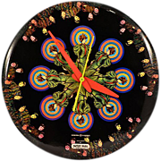 Iconic Vintage Peter Max GE Enameled Metal Wall Clock Rare and Highly Collectible