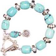 OOAK Davison Bracelet with Sterling Silver & Turquoise