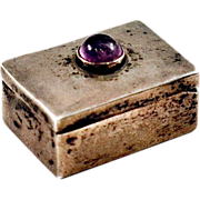 Vintage Rare Fred Davis Sterling Silver and Amethyst Pill Box Very Collectible