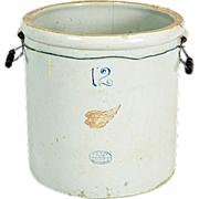 Vintage 12 Gallon Red Wing Stoneware Crock #172